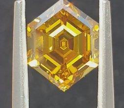 Hexagon 3.98ct Deep Brownish Yellow