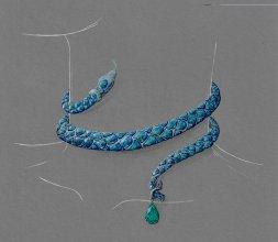 Ras-le-cou d'opales noires sous le signe du Serpent