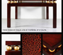 Table basse laque et or