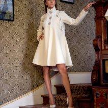 Manteau Spencer de forme trapèze en drap de laine i