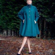 Manteau Swing  années 50 en laine vert anglais