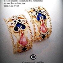 Boucles d'Oreilles style Renaissance en or jaune se