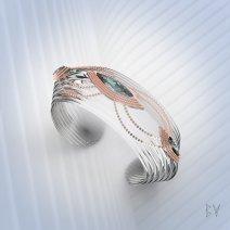"""Bracelet """"Navettes sur Cristal de Roche"""""""