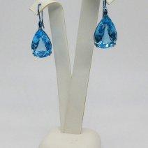 Boucles d'oreilles Topaze en titane, teintées en Bl