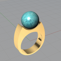 Bague turquoise exercice 3D Rhino